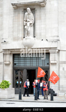 Unite the Union demonstrating outside the BBC Broadcasting House, in support of BBC engineers against job cuts proposed - Stock Photo