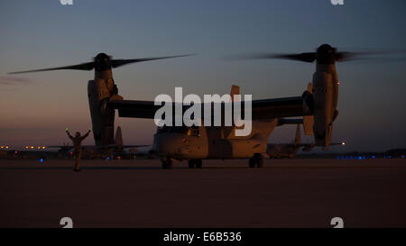 A U.S. Marine Corps MV-22B Osprey tiltrotor aircraft assigned to Special Purpose Marine Air-Ground Task Force Crisis - Stock Photo