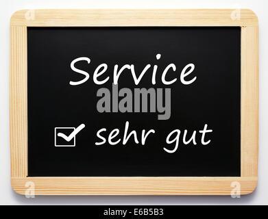 service,very good,blackboard - Stock Photo