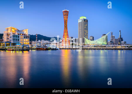 Skyline of Kobe, Japan at the port. - Stock Photo