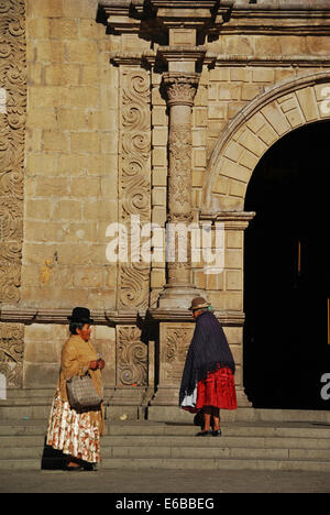 Bolivia, La Paz, the Iglesia of San Francisco, with its highly decorated facade, of baroque and neoclassical architectural - Stock Photo