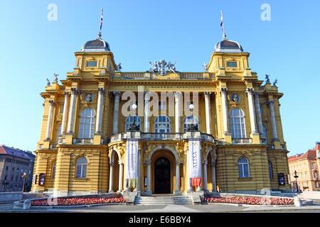 Croatian national theater  in Zagreb, Croatia - Stock Photo