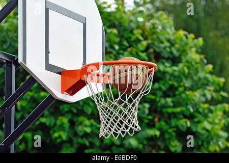 Basketball ball flies into the shopping cart - Stock Photo