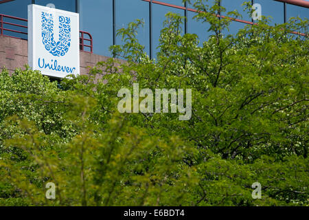 An office building occupied by Unilever in Lisle, Illinois. - Stock Photo