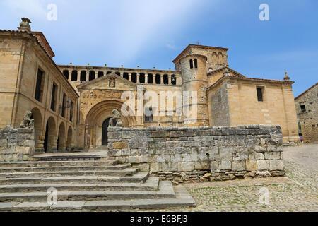 The Colegiata, a famous religious building in Santillana del Mar, a historic town in Cantabria, Spain. - Stock Photo