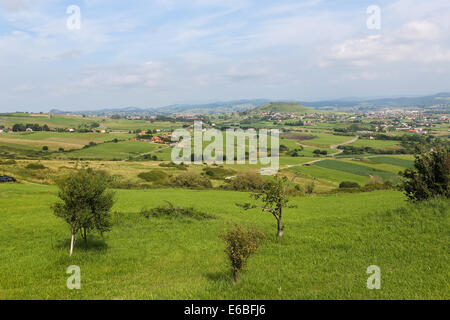 Beautiful rural landscape near Santillana del Mar, Cantabria, Spain. - Stock Photo
