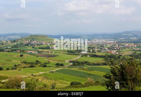 Beautiful rural landscape near Santillana del Mar, Cantabria, Spain. - Stock Photo