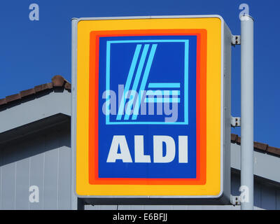 the exterior sign of an Aldi supermarket - Stock Photo