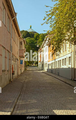 Cobbled streets and traditional wooden architecture in Haga, the historic district of Göteborg, Bohuslän, Västergötland, - Stock Photo