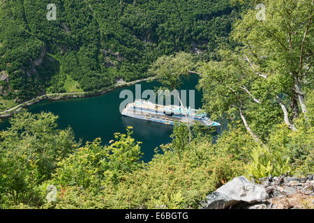 cruise ship in Geirangerfjord, Norway - Stock Photo