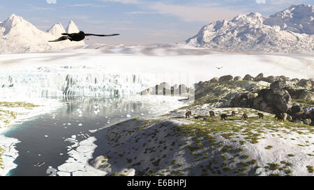 A broad look at a receding glacial scene circa 18,000 years ago in what would be modern north Poland or western - Stock Photo