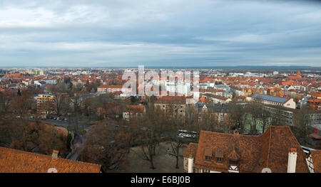Aerial panorama of the Old Town in Nuremberg, Germany - Stock Photo