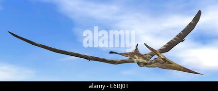Pteranodon dinosaur flying in the blue sky. - Stock Photo