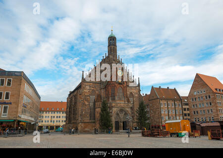 View of the Frauenkirche (Our Lady's Church) am Hauptmarkt in Nuremberg, Germany - Stock Photo