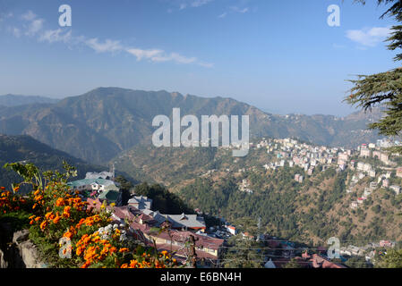 A morning view over part of Shimla suburbs on the Himalayan foothills in Himachal Pradesh, India - Stock Photo