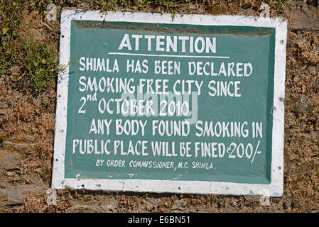 A no-smoking ban in Shimla, Himachal Pradesh,India - Stock Photo