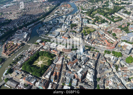 An aerial view of Bristol City Centre, mainly the area around Queen Square and the waterfront - Stock Photo