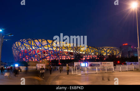 Olympic Stadium, Beijing National Stadium, 'Bird's Nest' at dusk, blue hour, Beijing, China - Stock Photo
