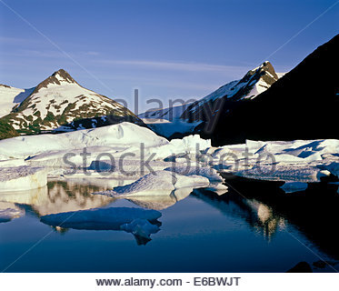 Icebergs from the Portage Glacier in Chugach National Forest in Alaska USA - Stock Photo