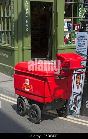 Royal Mail post delivery trolley York North Yorkshire England UK United Kingdom GB Great Britain - Stock Photo