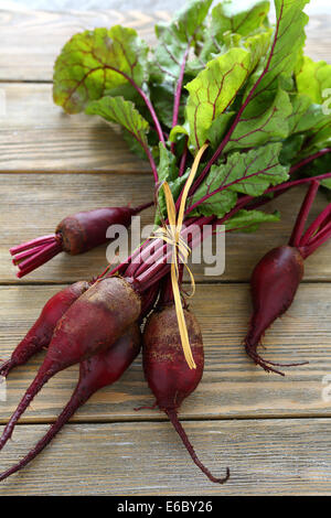 red beets with tops on the boards, food closeup - Stock Photo