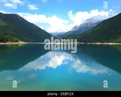 Beautiful view of high blue mountain lake - Stock Photo