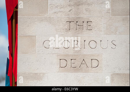Inscription on The Cenotaph at Whitehall in central London, The Glorious Dead - Stock Photo