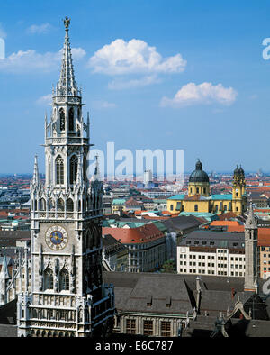 Stadtpanorama, Neues Rathaus und katholische Theatinerkirche in Muenchen, Isar, Oberbayern, Bayern - Stock Photo