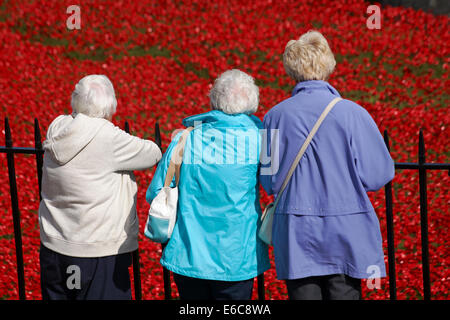 three woman looking at ceramic poppies of Blood Swept Lands and Seas of Red at Tower of London to mark centenary - Stock Photo