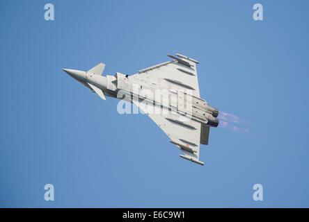 Italian Eurofighter Typhoon aircraft display at RIAT 2014 - Stock Photo