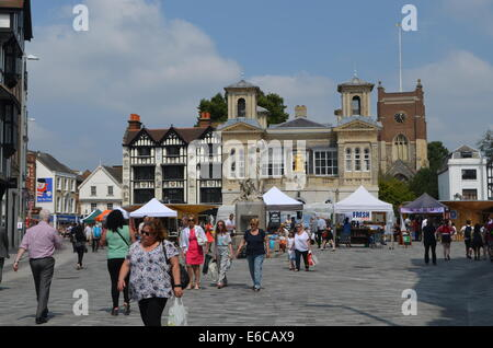 RoyalBorough KingstononThames marketplace with its ancient buildings and street marketeers gets ready for aday of - Stock Photo