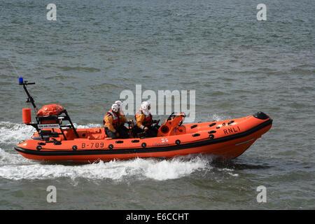 RNLI rescue speedboat on exercise - Stock Photo