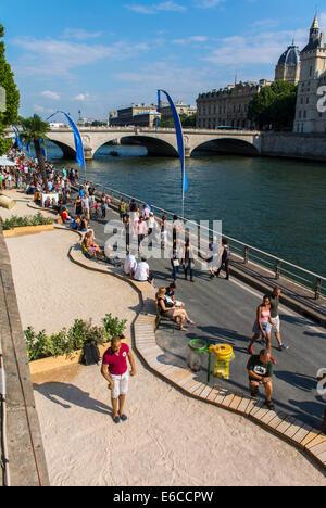 Paris, France, Aerial VIew, Tourists enjoying Public Events, 'Paris Plages', Urban Beach, Bocce Ball - Stock Photo