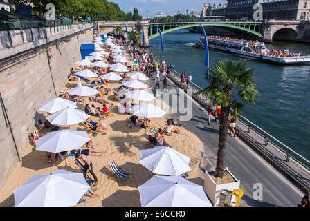 Paris, France, Aerial VIew, Tourists enjoying Public Events, 'Paris Plages', Urban Beach, Parasols - Stock Photo