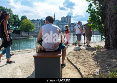 Paris, France, Tourist Couple enjoying Public Events, 'Paris Plages', Urban Beach - Stock Photo