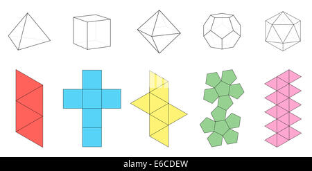 Five platonic solids, three-dimensional figures and corresponding nets. - Stock Photo