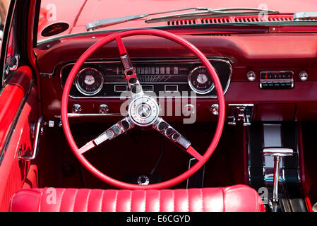 classic american car interior with red leather upholstery and stock photo 135778105 alamy. Black Bedroom Furniture Sets. Home Design Ideas