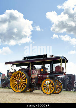 Showmans Traction Engine at a steam fair in England - Stock Photo
