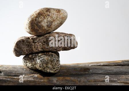 three stones on each other, horizontal photo - Stock Photo