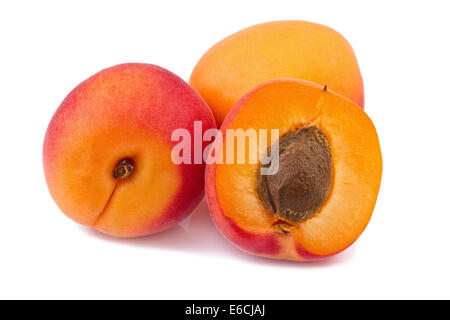 Apricot  Fruits isolated on white - Stock Photo