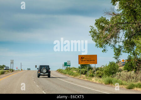 Welcome to New Mexico sign on US 550 highway - Stock Photo