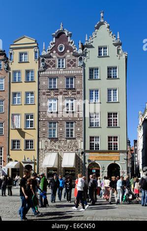 Gable Houses on the Long Market (Dlugi Targ)  in Gdansk, Poland, Europe - Stock Photo