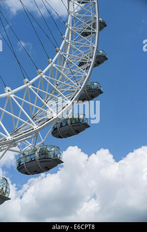 London, UK. Detailed image of the passengers pods on the London Eye - Stock Photo