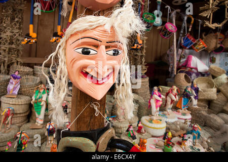 Bit of a bad hair day for a mask that is used in the popular Old Man's Dance in a market in Patzcuaro, Michoacan, - Stock Photo