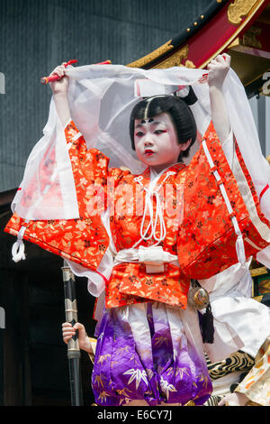 Children participating in Kabuki performance atop a yatai (festival float) during Furukawa Festival, Hida-Furukawa, - Stock Photo