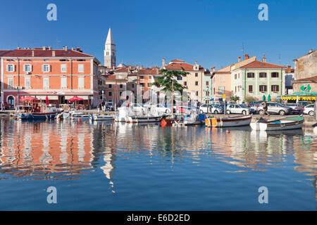 Harbor with old town of Izola, Slovenian Littoral, Istria, Slovenia - Stock Photo
