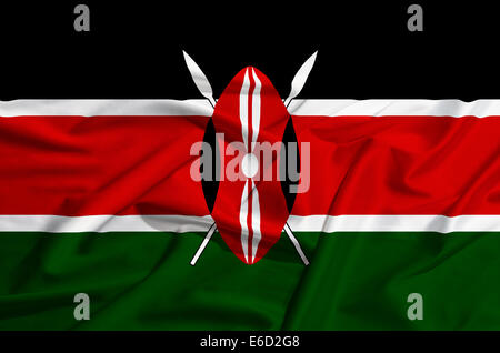 Kenya flag on a silk drape waving - Stock Photo