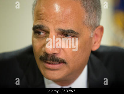Ferguson, Mo. 20th Aug, 2014. United States Attorney General Eric Holder during his meeting at the FBI building - Stock Photo