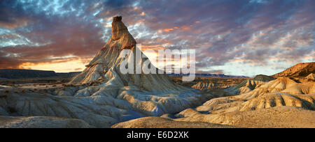 Castildeterra rock formation in the Bardena Blanca area of the Bardenas Reales Natural Park, Navarre, Spain - Stock Photo
