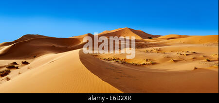 Parabolic sand dunes, Erg Chebbi, Sahara, Morocco - Stock Photo